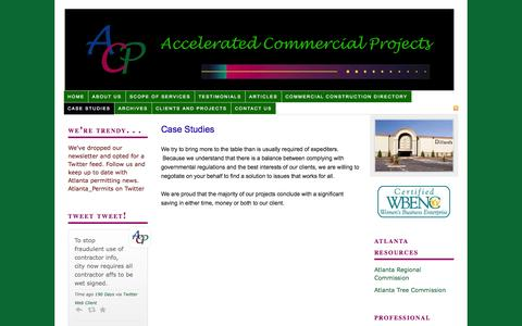 Screenshot of Case Studies Page acpatl.com - Case Studies — Atlanta Construction Permits Accelerated Commercial Projects - captured Oct. 4, 2014