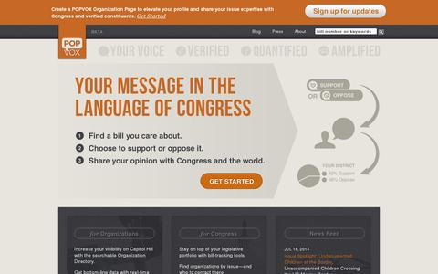 Screenshot of Home Page popvox.com - POPVOX - Your Voice. Verified. Quantified. Amplified. - captured July 17, 2014