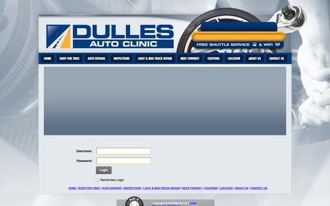 Screenshot of Login Page dullesautoclinic.com - User Log In - captured Oct. 5, 2014