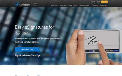 Screenshot of Home Page cudasign.com - CudaSign |      Safe and Affordable eSignatures for Just $1 - captured June 16, 2015