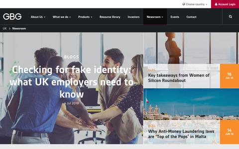 Screenshot of Press Page gbgplc.com - Newsroom - Data Insights & Blogs | GBG UK - captured Sept. 25, 2018