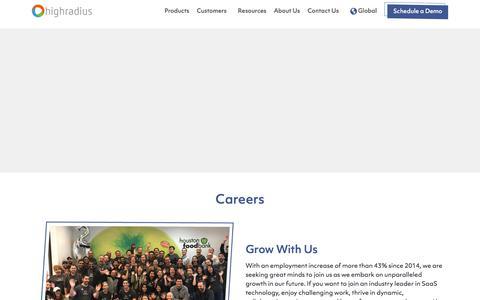 Screenshot of Jobs Page highradius.com - Careers at HighRadius - Get a Career High - captured Oct. 3, 2019