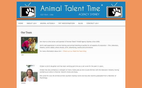 Screenshot of Team Page animaltalenttime.com.au - Our Team  @  Animal Talent Time Agency - captured Sept. 26, 2014