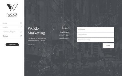 Screenshot of Contact Page wckd.marketing - Contact - WCKD Marketing - captured Sept. 24, 2018