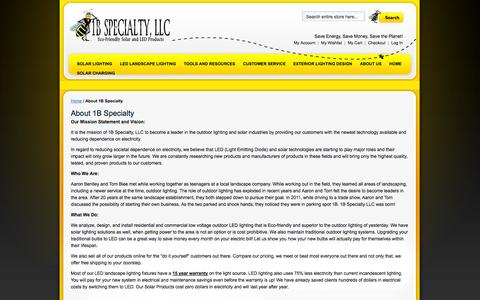 Screenshot of About Page 1bspecialty.com - About 1B Specialty - captured Sept. 19, 2014