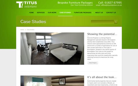 Screenshot of Case Studies Page titusinteriors.co.uk - Case Studies  |   Titus Interiors - Your Total Furnishing Solution - captured Oct. 7, 2014