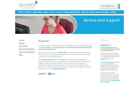 Screenshot of Support Page seward.co.uk - Seward support - get the best out of your Stomacher® - captured Oct. 7, 2014