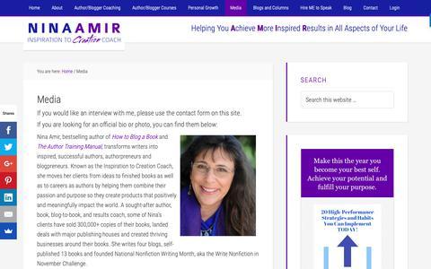 Screenshot of Press Page ninaamir.com - Media - Nina Amir - captured Oct. 26, 2018