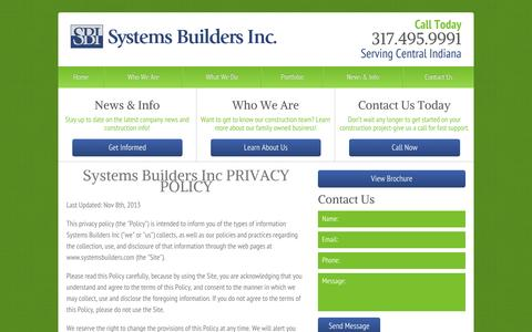 Screenshot of Privacy Page systemsbuilders.com - Privacy Policy   Indianapolis General Contractor - captured Oct. 7, 2014