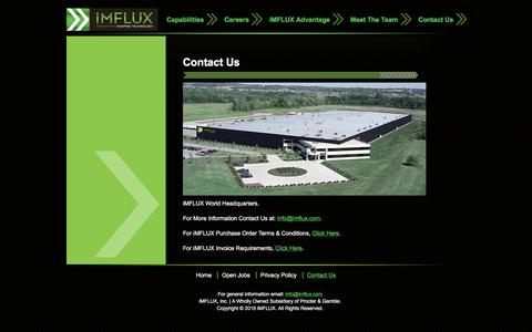Screenshot of Contact Page imflux.com - iMFLUX - iMFLUX Contact Us for Job Opportunities in Injection Molding - captured Jan. 9, 2016