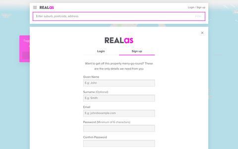 Screenshot of Signup Page realas.com - Sign up | REALas - captured Oct. 19, 2018