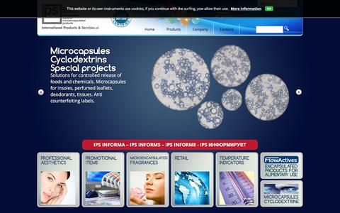 Screenshot of Home Page ips-italy.com - IPS Srl - The innovative world of microencapsuled products - captured April 7, 2016