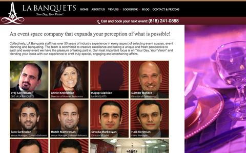 Screenshot of About Page labanquets.com - LA Banquets | About Us - captured Sept. 23, 2014