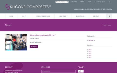 Screenshot of Press Page siliconecomposites.com - Silicone Composites Ltd | Silicone Equipment, Materials, Tooling, Training | Plymouth, Devon | News - captured Oct. 24, 2017
