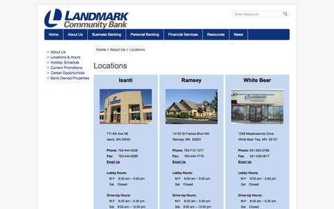 Screenshot of Contact Page Locations Page landmark-bank.net - Locations | Landmark Community Bank - captured Oct. 22, 2014