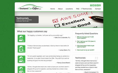 Screenshot of Testimonials Page instantcaroffer.com - Instant Car Offer - Testimonials - captured Sept. 30, 2014