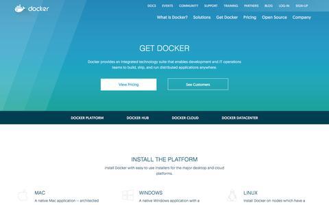 Screenshot of Products Page docker.com - Get Docker | Docker - captured June 21, 2016