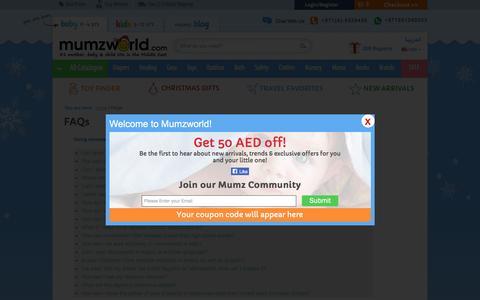 Screenshot of FAQ Page mumzworld.com - FAQs - captured Nov. 25, 2015