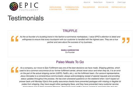 Screenshot of Testimonials Page epicfulfillment.com - Testimonials | Epic Fulfillment - captured Sept. 25, 2018