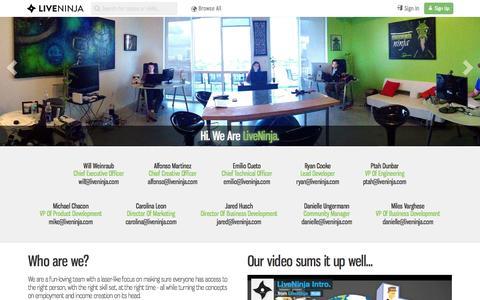 Screenshot of About Page liveninja.com - AboutUs | LiveNinja - captured Sept. 16, 2014