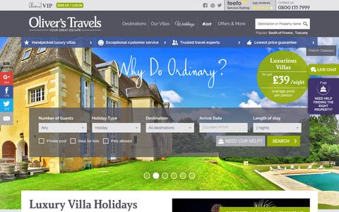 Screenshot of Home Page oliverstravels.com - Luxury Villa Holidays | Oliver's Travels - captured Oct. 26, 2015