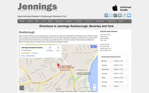 Screenshot of Maps & Directions Page jcsltd.co.uk - Directions to Jennings Scarborough, Beverley and York Stores - captured Oct. 6, 2014