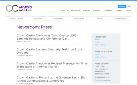 Screenshot of Press Page crowncastle.com - Crown Castle: Newsroom - captured Oct. 20, 2016