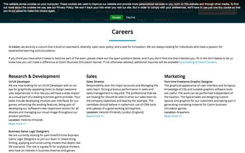 Screenshot of Jobs Page cesim.com - Careers at Cesim   Business Simulation Enthusiasts - captured July 17, 2018
