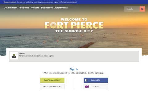 Screenshot of Login Page cityoffortpierce.com - Fort Pierce, FL - Official Website - captured Nov. 14, 2018