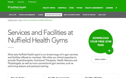 Screenshot of Services Page nuffieldhealth.com - Gym services & fitness facilities | Nuffield Health - captured Aug. 14, 2016