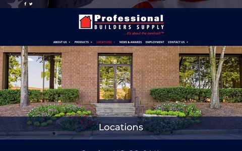 Screenshot of Locations Page pb-supply.com - Locations - Serving NC, SC, & VA | Professional Builders Supply - captured Sept. 30, 2018