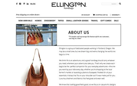 Screenshot of About Page ellingtonhandbags.com - About Ellington | Ellington Handbags - captured Dec. 8, 2015