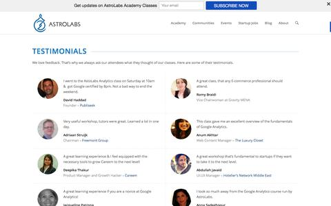 Screenshot of Testimonials Page astrolabs.com - Learn what attendees of AstroLabs Classes Think - captured Dec. 26, 2015
