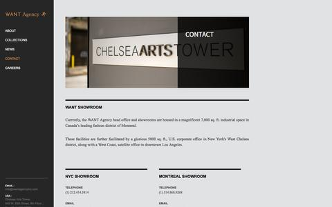 Screenshot of Contact Page wantagencyinc.com - Contact - Want Agency - captured Oct. 26, 2014
