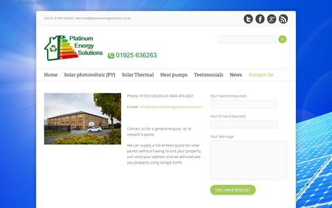 Screenshot of Contact Page platinumenergysolutions.co.uk - Platinum Energy Solutions Installers of Solar PV Panels, Solar Thermal and Air Source Heat Pumps - captured Oct. 2, 2014