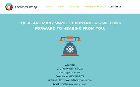 Screenshot of Contact Page softwareonvinyl.com - Contact Us | Software on Vinyl - captured Oct. 18, 2018