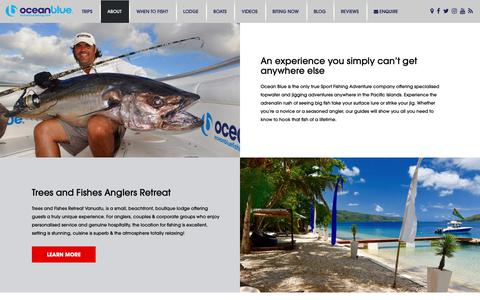 Screenshot of About Page oceanbluefishing.com - Vanuatu Fishing with Confidence | Ocean Blue Fishing - captured Oct. 18, 2018