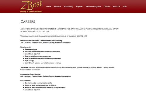 Screenshot of Jobs Page zbestdining.com - Careers | Z Best Dining & Entertainment | Elk Grove, CA - captured Sept. 24, 2016