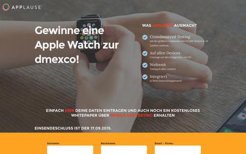 Screenshot of Landing Page applause.com - Mit Applause eine Apple Watch gewinnen! - captured March 15, 2016
