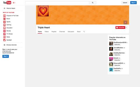 Screenshot of YouTube Page youtube.com - Triple Heart  - YouTube - captured Oct. 25, 2014