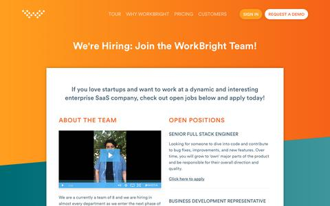 Screenshot of Jobs Page workbright.com - We're Hiring: Join the WorkBright Team! | WorkBright - captured July 6, 2018