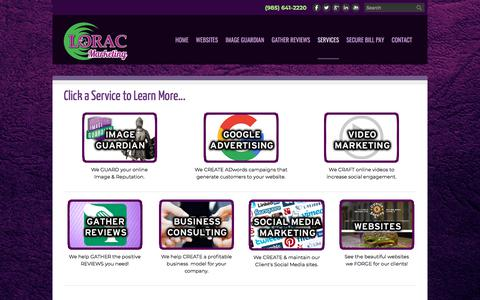 Screenshot of Services Page loraconline.com - Our Services | LORAC Marketing - LORAC Marketing - captured Sept. 25, 2018