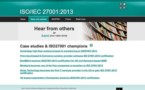 Screenshot of Case Studies Page iso270012013.info - Case studies - captured March 3, 2018