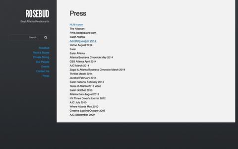 Screenshot of Press Page rosebudatlanta.com - Press • ROSEBUD - captured Oct. 20, 2018