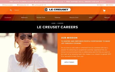 Screenshot of Jobs Page lecreuset.com - Careers   Le Creuset - captured April 26, 2017
