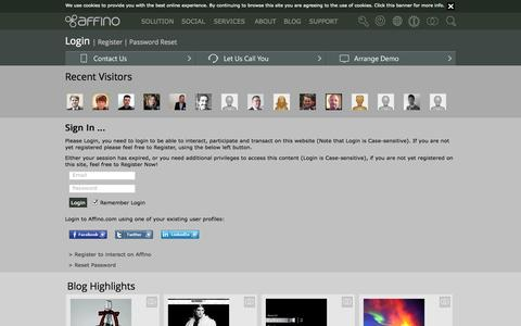Screenshot of Support Page affino.com - Login - captured Oct. 10, 2014