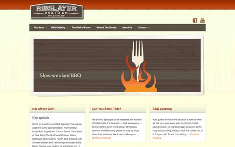 Screenshot of Home Page ribslayer.com - Ribslayer BBQ-To-Go - captured June 18, 2016