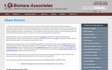 Screenshot of About Page bomara.com - Bomara Associates: Over 40 years of worldwide sales, service & support - captured Nov. 23, 2016