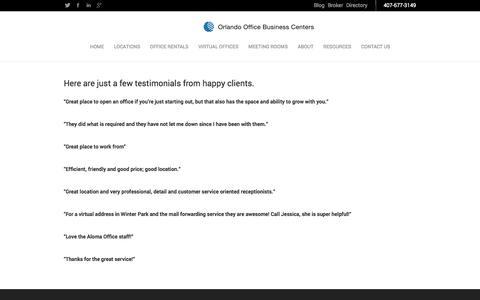 Screenshot of Testimonials Page orlandoffice.com - Testimonials | OrlandOffice - captured Oct. 3, 2014