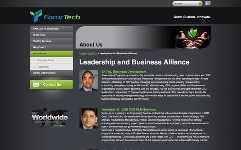 Screenshot of Team Page forartech.com - Leadership and Business Alliance - ForarTech - captured Oct. 6, 2014